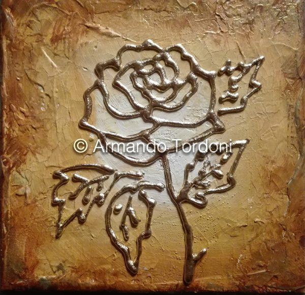 rosa-oro-tela-20×20-tecnica-mista-stucco-olio-e-acrilico